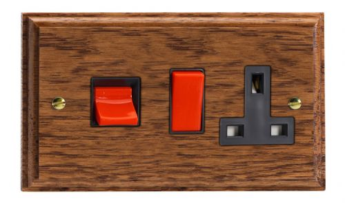 Varilight XK45PMOB Kilnwood Medium Oak 45A DP Cooker Switch + 13A Switched Socket